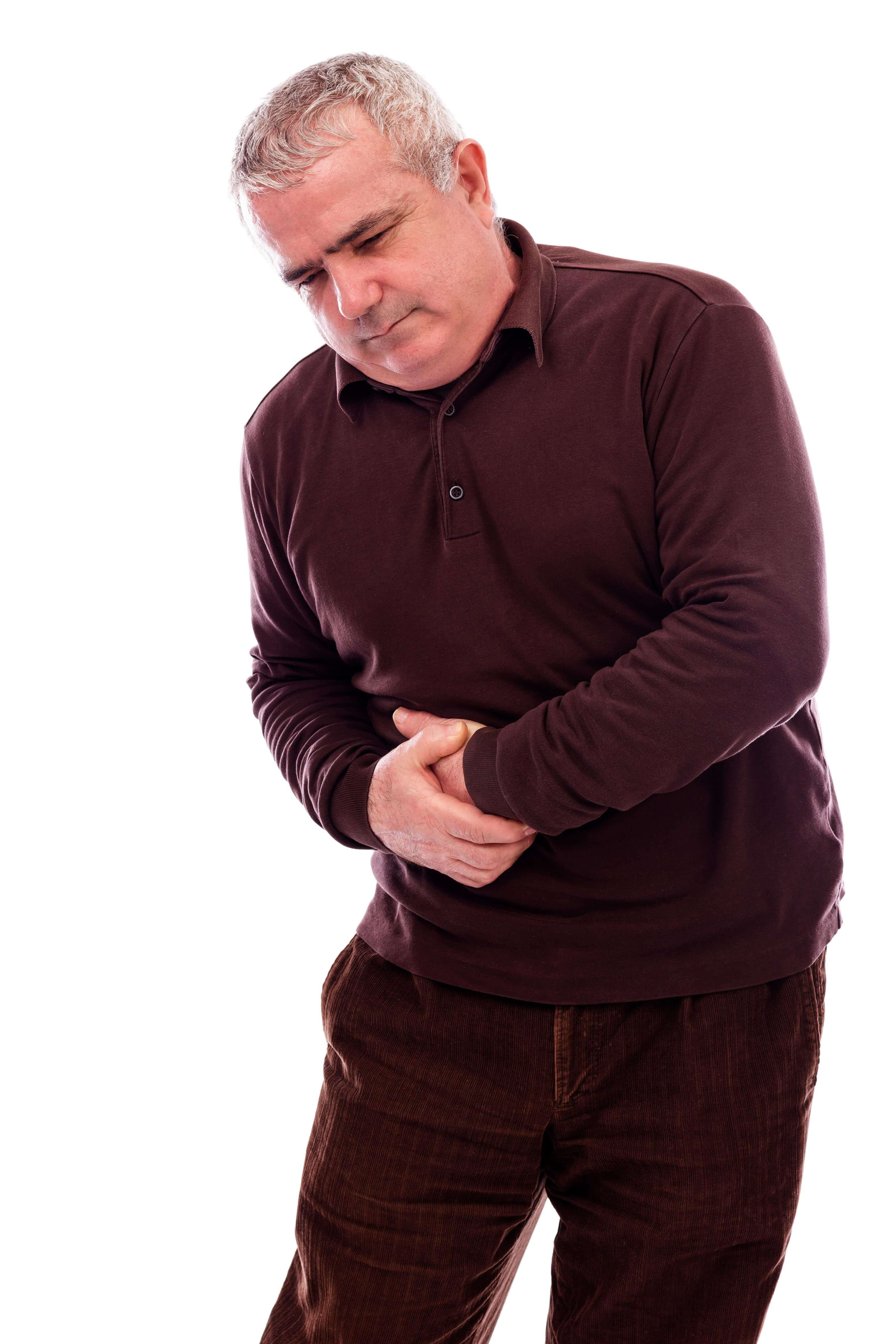 Senior man suffering from abdominal pain isolated on white background